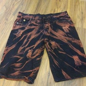 Mens rust and black colored denim shorts